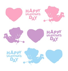 Set valentines day heart cupid and text cute angel vector