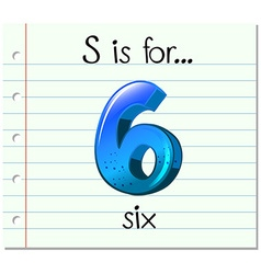 Flashcard letter s is for six vector