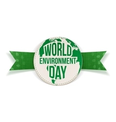 World environment day awareness label and ribbon vector