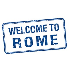 Welcome to rome blue grunge square stamp vector
