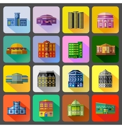 Public buildings icons set flat style vector