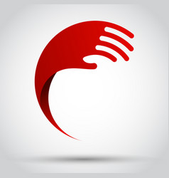 Abstract red wave hand vector