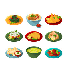 cartoon set of traditional indian food in vector image