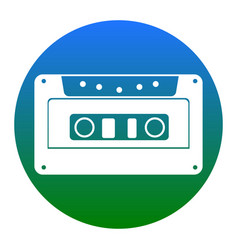 cassette icon audio tape sign white icon vector image vector image