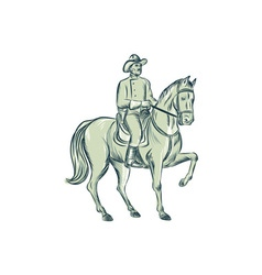 Cavalry officer riding horse etching vector