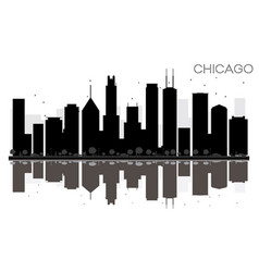chicago city skyline black and white silhouette vector image vector image