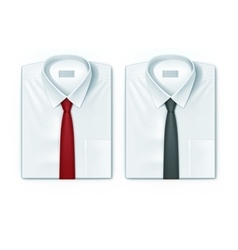 Classic men shirts set with red and black ties vector