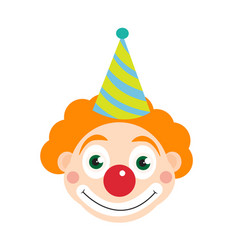clown icon flat style isolated on white vector image vector image