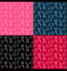 collection of patterns merry christmas and happy vector image vector image