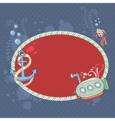 Cute nautical summer sea card vector