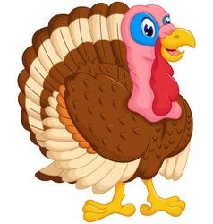 Cute turkey cartoon posing vector