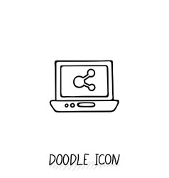 Doodle Laptop Icon Netbook vector image vector image
