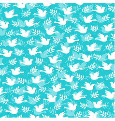 Dove and olive branch pattern vector