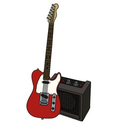 Electric guitar and a combo vector