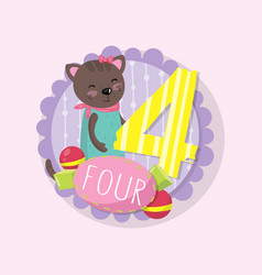 emblem with adorable kitten and number 4 four vector image
