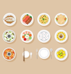 Foods on dish set vector