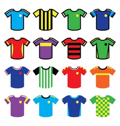 Football or soccer jerseys colorful icons set vector