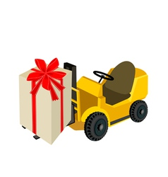 Forklift truck loading a beautiful gift boxes vector