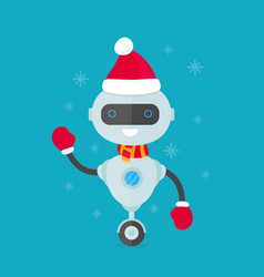 Happy smiling robot chat bot in christmas vector