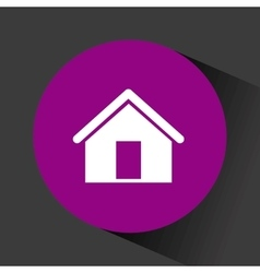 house icon inside purple circle vector image