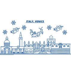 Italy venice winter city skyline merry christmas vector