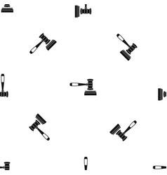 judge gavel pattern seamless black vector image vector image