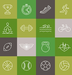 Linear sport and fitness icons and signs vector