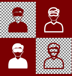 Man with sleeping mask sign bordo and vector