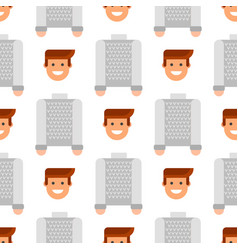 Men portrait seamless pattern friendship character vector