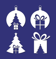 Negative space Christmas icons vector image vector image