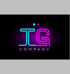 neon lights alphabet tg t g letter logo icon vector image