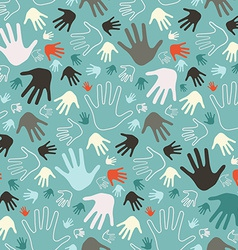 Palm Hand Seamless Retro Pattern vector image