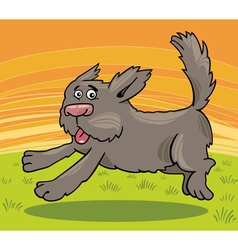 running shaggy dog cartoon vector image vector image