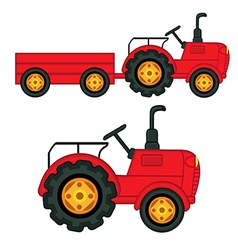 Set of isolated tractor with trailer vector