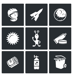 Space flight icons vector