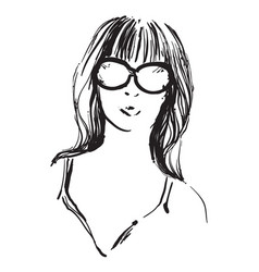 the girl doodles portrait vector image vector image