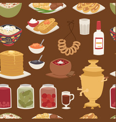 Traditional russian cuisine culture dish course vector