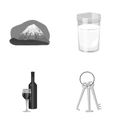 Travel alcohol and other monochrome icon in vector