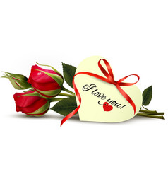 Two red roses with an i love you note vector
