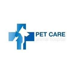 Veterinary cross and pets on white background vector