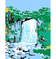 Wild jungle waterfalls vector