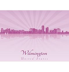 Wilmington skyline in purple radiant orchid vector