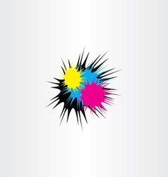 Ink splash cmyk print icon vector