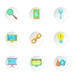 Promotion icons set cartoon style vector