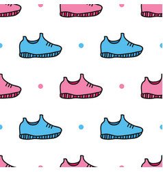 Doodle sneakers shoes and dots seamless pattern vector