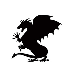 Dragon Fighting Silhouette vector image
