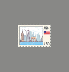 Postage stamp of new york vector