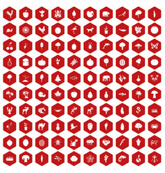 100 live nature icons hexagon red vector