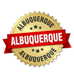 Albuquerque round golden badge with red ribbon vector