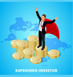 Isometric superhero businessman investor on a vector